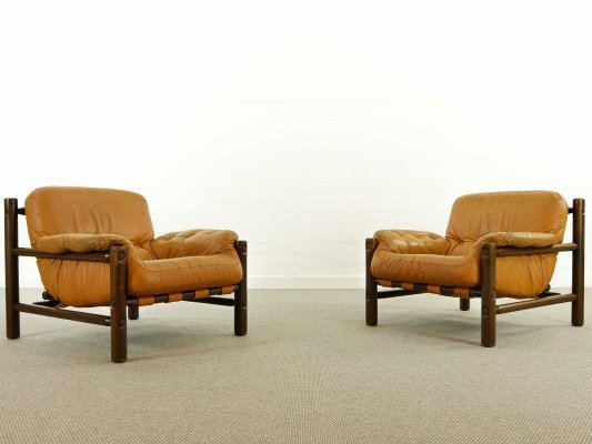 Pair of Brazilian Lounge Chairs in Cognac Leather, Brazil 1970s