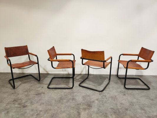 Set of 4 'MG5' armchairs by Mart Stam for Fasem, 1980s