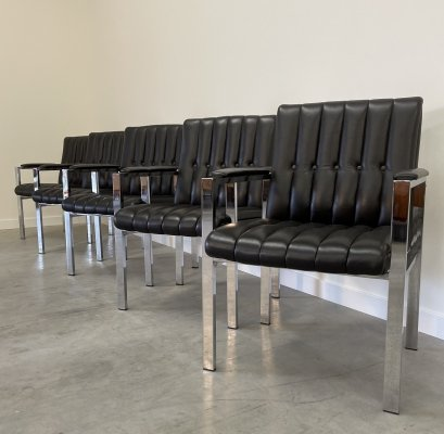 Set of 5 black leather & chrome armchairs, 1980s