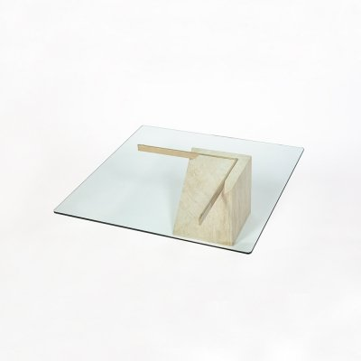 Artedi Coffee table with travertine base & glass table top