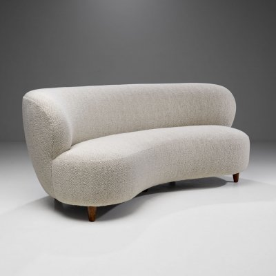 Curved Three-seater Sofa by a Danish Cabinetmaker, Denmark ca 1950s