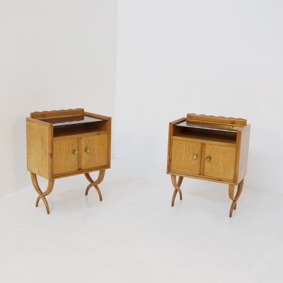 Pair of bedside tables by Paolo Buffa in wood glass & brass, 1950s