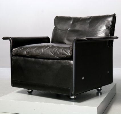 Black Shell & Leather 620 Chair Programme Lounge Chair by Dieter Rams for Vitsoe, 1980s