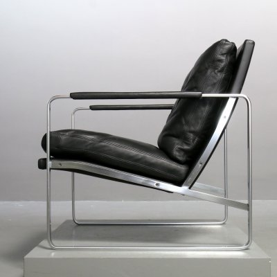 Steel & black leather Model 710 armchair by Preben Fabricius for Walter Knoll, 1980s