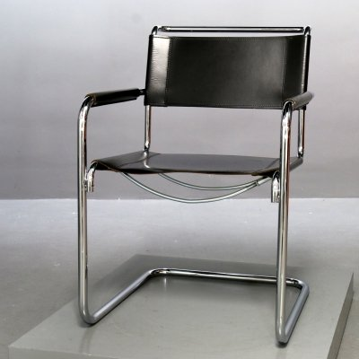 Black leather S34 Cantilever Chair by Mart Stam for Thonet, 1980s