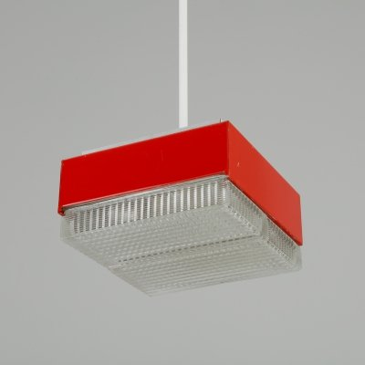 1970s square cut glass red pendant lights
