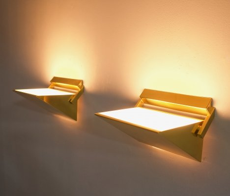 Pair of Brass Wall Lights by Vereinigte Werkstaetten, Germany 1970s