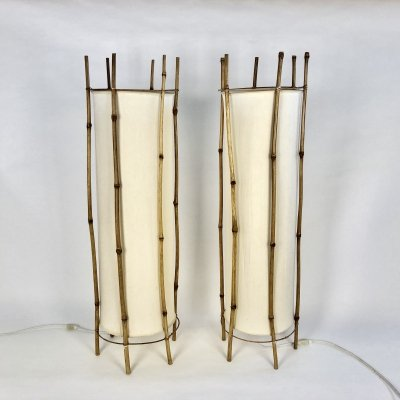 Pair of bamboo floor lamps by Louis Sognot, France c1950-60