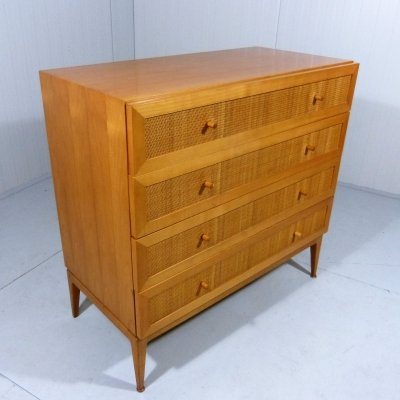 Wooden & seagrass chest of drawers, 1960's