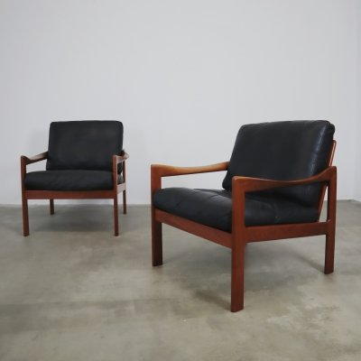 Teak & leather lounge chairs by Illum Wikkelso for Niels Eilersen