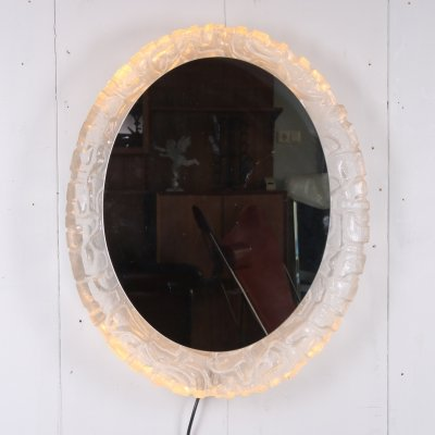 Oval mirror with lighting & plexiglass edge by Hillebrand