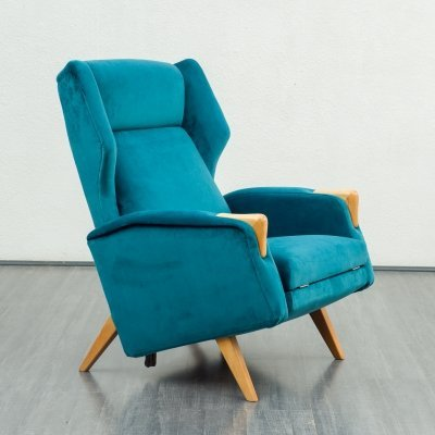 Mid-Century Wing chair with fold-out footstool, 1950s