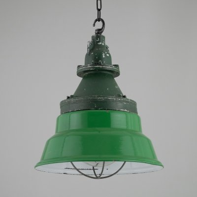 Green enamel Munitions store lights by Heyes of Wigan