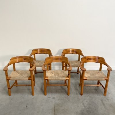 Set of 5 pine papercord armchairs by Rainer Daumiller, Denmark 1970s