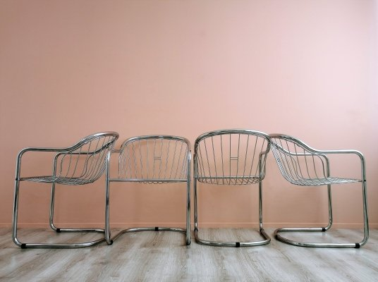 Set of 4 Vintage Chrome Wire Dining Chairs