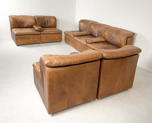 Brown leather modular sofa set, 1970s