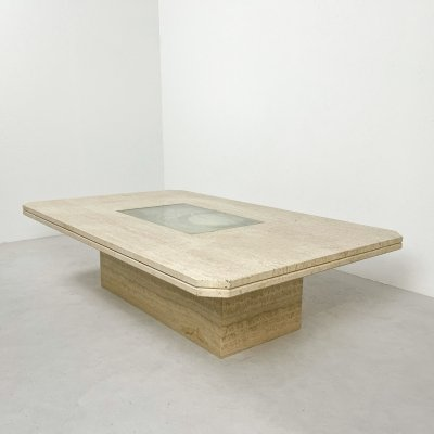 Travertine George Mathias coffee table, 1980s