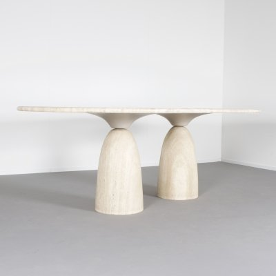 Large Travertine 'Finale' Dining Table by Peter Draenert, 1970s