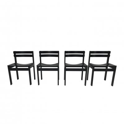 Set of 4 Brutalist slatted wood dining chairs, Netherlands 1970s