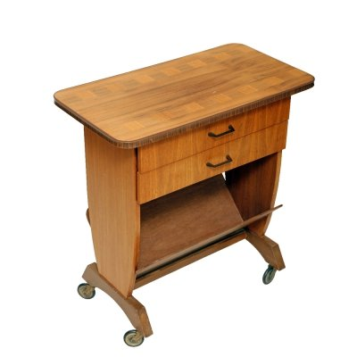 Mid century mobile table/newspaper stand with two small drawers, Germany 1960s