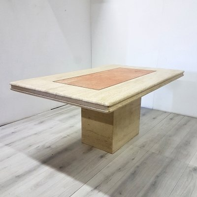 Travertine dining table with pink & black marble inlay, Italy 1970s