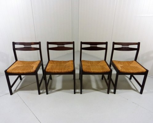 Set of 4 wenge wooden dining chairs, 1960's