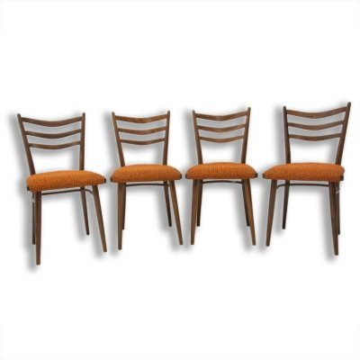 Set of 4 Mid century Czechoslovak dining chairs, 1960s