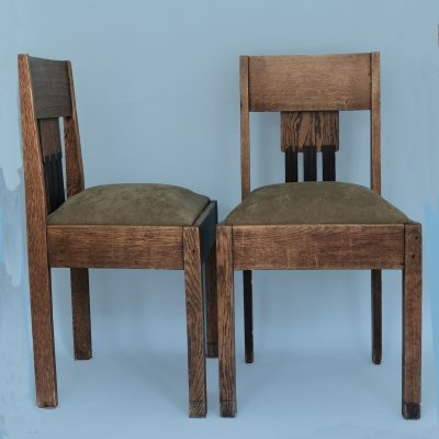 Pair of Oak Art Deco Amsterdam School Chairs, 1920s