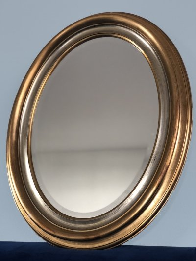 Oval Mid Century Facet-Cut Mirror In Gold And Silver