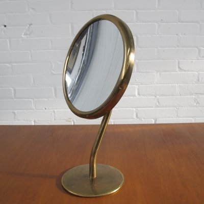 Vintage brass magnified shaving mirror, 1960s