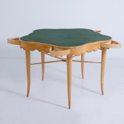 Paolo Buffa Game table in Maple wood, brass & velvet, 1950s