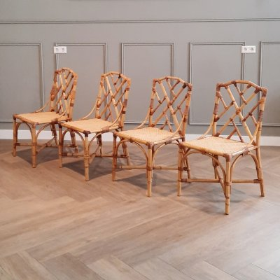 Set of 4 French Rattan Dining Chairs, 1960s
