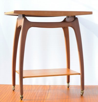 Mid century organic formed teak serving trolley, 1960s
