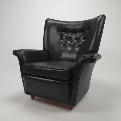 Mid Century Leatherette Wingback Lounge Chair, 1960s