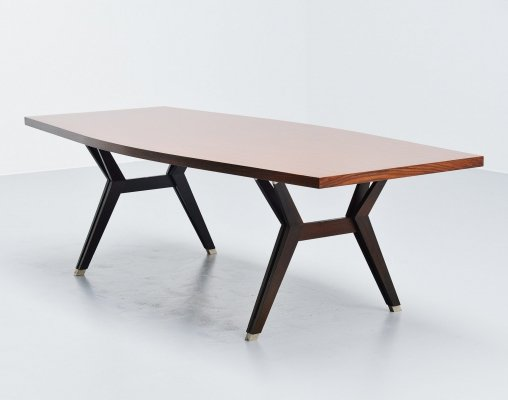 Ennio Fazioli for MIM 'Tolomeo' dining table in rosewood, Italy 1958