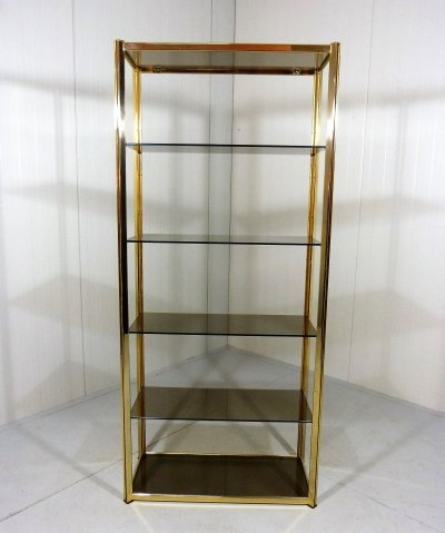 Large brass & smoked glass display, 1970's