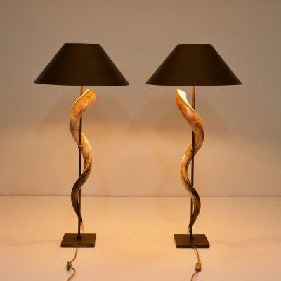 Pair of Large Kudo Horn table or Floor Lamps, 1980s