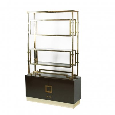 Maison Jansen Brass Etagère Or Bookshelf, France 1970's