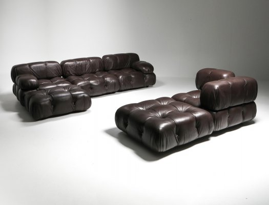 Mario Bellini's Camaleonda Original Sectional Sofa in Chocolate Brown Leather