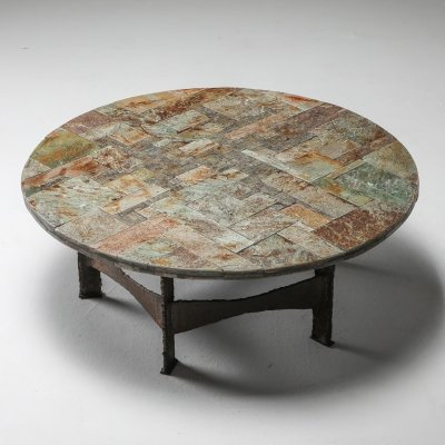 Pia Manu Round Slate Mosaic Coffee Table, 1970's