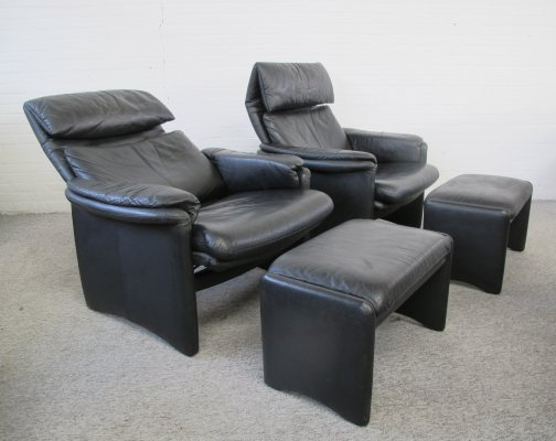 Pair of Erpo International Lugano relax lounge chairs with footstool, 1980s