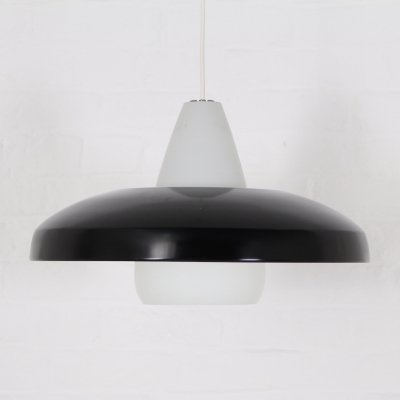 Lacquered sheet metal & opaline glass pendant by Philips, 1950's