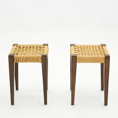 Pair of stools rope & oakwood by Audoux Minet, 1950s