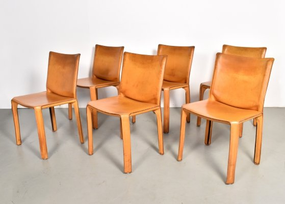 Set of 6 cognac leather 412 Cab chairs by Mario Bellini for Cassina, 1990s