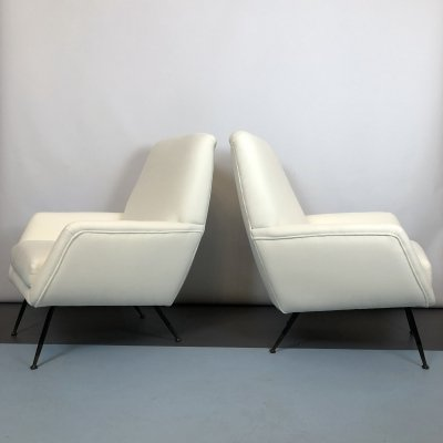 Pair of Mid-century Italian Warm White Velvet armchairs, 50s