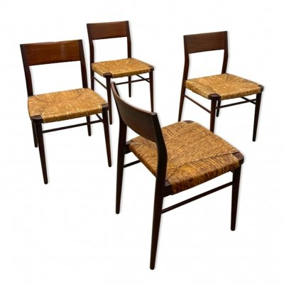 Set of 4 MidCentury Paper-cord Dining Chairs by Hartmut Lohmeyer for Wilkhahn