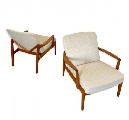 Pair of Danish Lounge Chairs by Edvard & Tove Kindt Larsen for France & Daverkosen