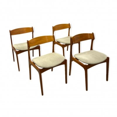 Set of 4 Danish MIdCentury Teak Dining Chairs by Erik Buch 1960s