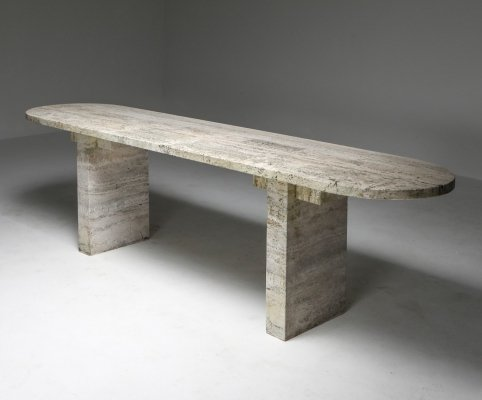 Travertine Oval Table, 1970's