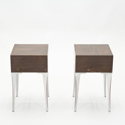 Pair of French ebony steel end tables / Night Stands, 1970s